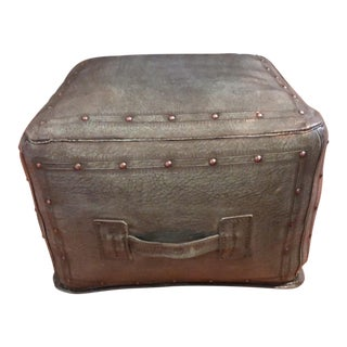 New World Trading Company Lo12 Distressed Turquoise Leather Ottoman/Pouf