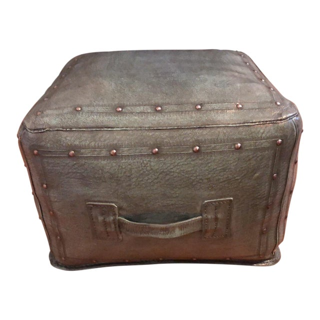 New World Trading Company Lo12 Distressed Turquoise Leather Ottoman/Pouf For Sale