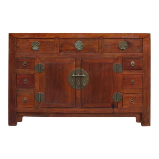 Chinese Distressed Brown Moon Face Sideboard Console Table Cabinet
