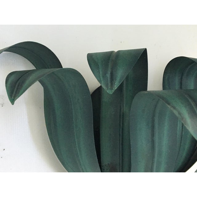Art Deco Tole Palm Tree Leaf Wall Sconces - a Pair - Image 5 of 6