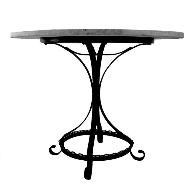 Ebony Marble-Top Chain Link Garden Patio Set in the Manner of George Mulhauser For Sale - Image 8 of 11