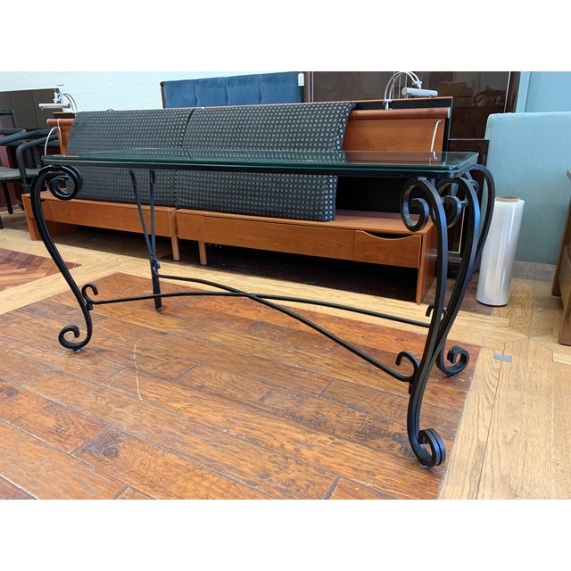 Italian Italian Style Wrought Iron Scroll Base + Glass Console For Sale - Image 3 of 8