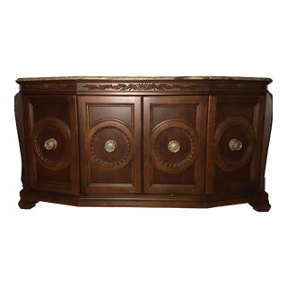 Traditional American Drew Mahogany Marble Credenza For Sale