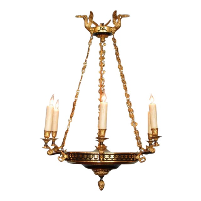 Early 19th Century French Restoration Patinated and Bronze Dore Swan Chandelier For Sale