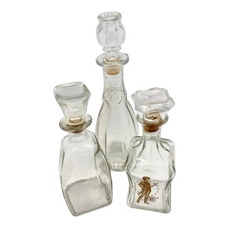 Vintage Mid-Century Glass Decanters - Set of 3 For Sale