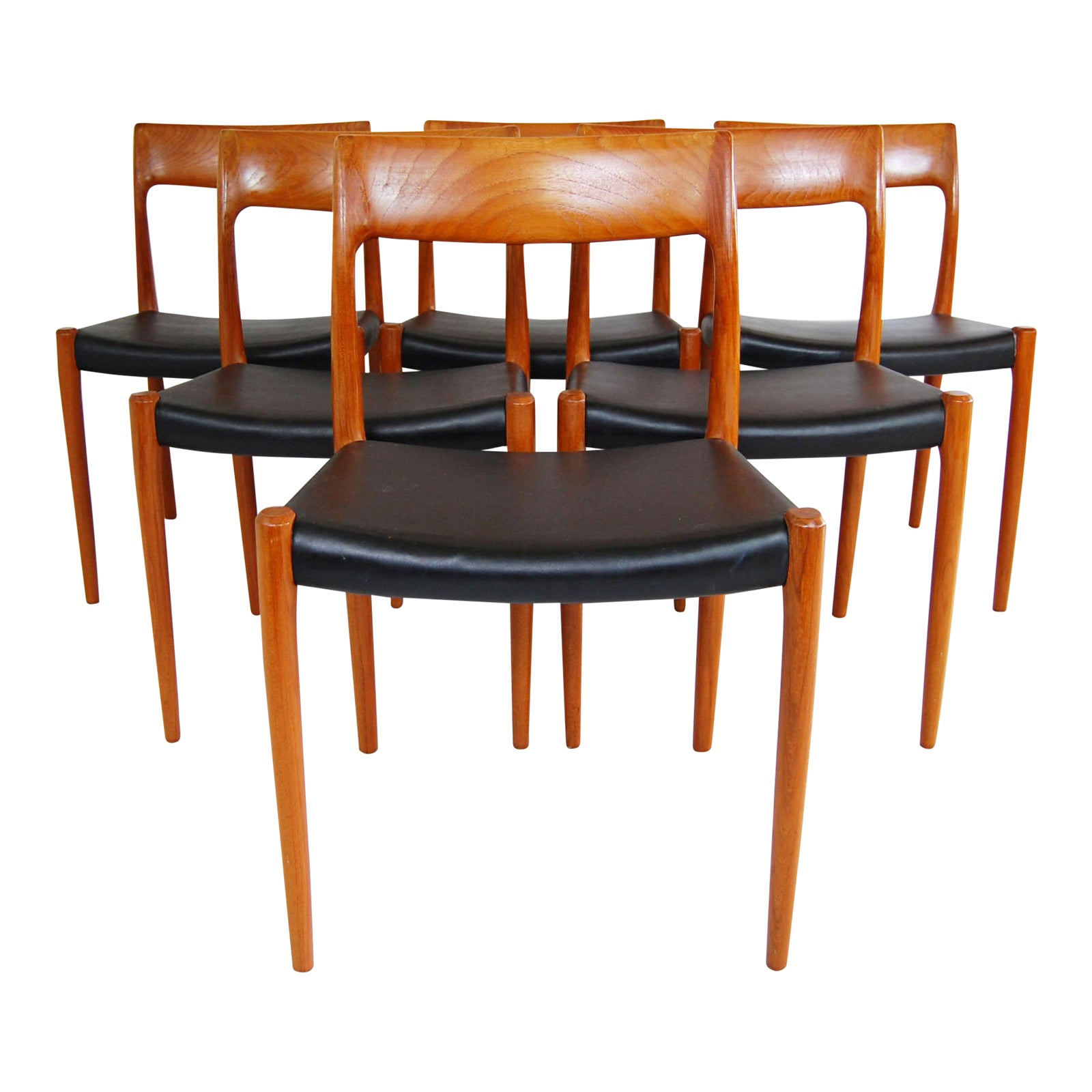 Danish Modern J L Moller Model 77 Teak Dining Chairs Set