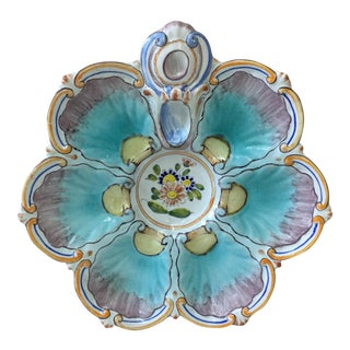 1890 Saint Clement French Faience Oyster Plate For Sale
