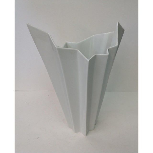 Stunning and rare, this Hutschenreuther white vase was manufactured circa 1970. The vase is marked at the bottom and has...