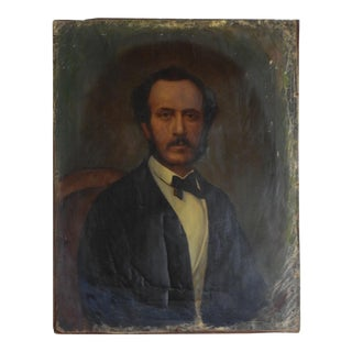 Distressed 19th Century Gentleman Portrait Painting For Sale