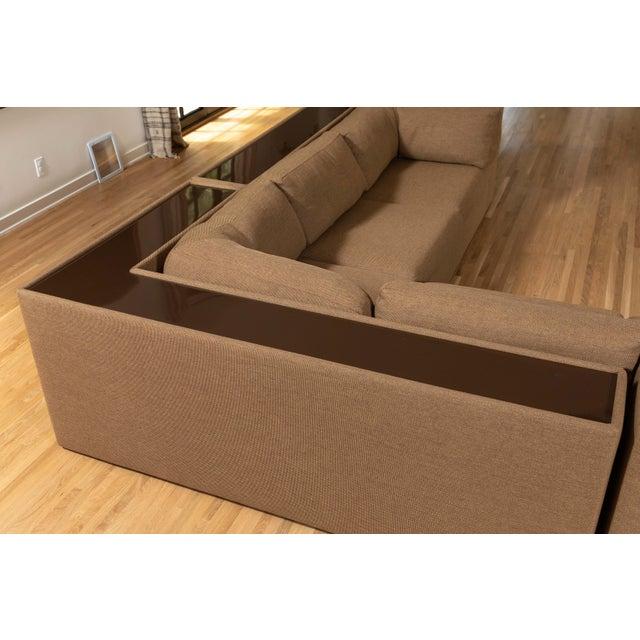Four-Piece Milo Baughman Sectional Sofa with Original Polymer Shelf Back For Sale - Image 10 of 12