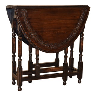 19th Century English Carved Gateleg For Sale