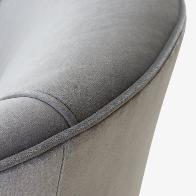 Swivel Tub Chairs in Fog Velvet With Walnut Bases, Pair For Sale In New York - Image 6 of 7