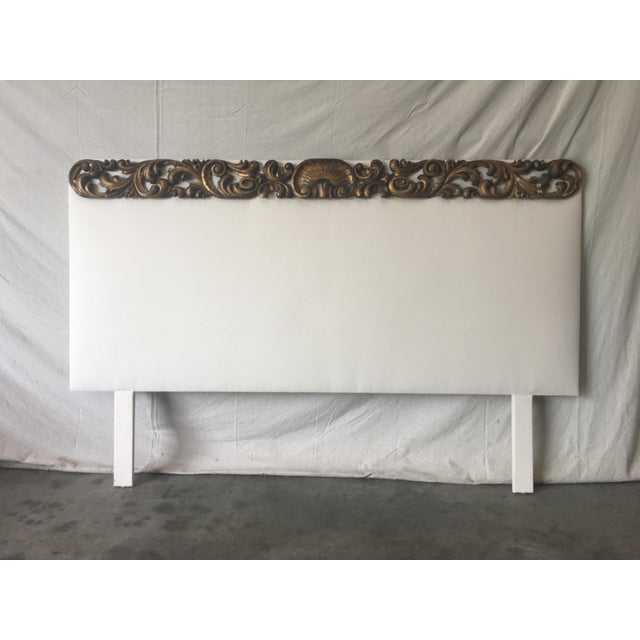 Italian Upholstered Headboard With 19th C Gilt Fragment Accents For Sale - Image 11 of 11