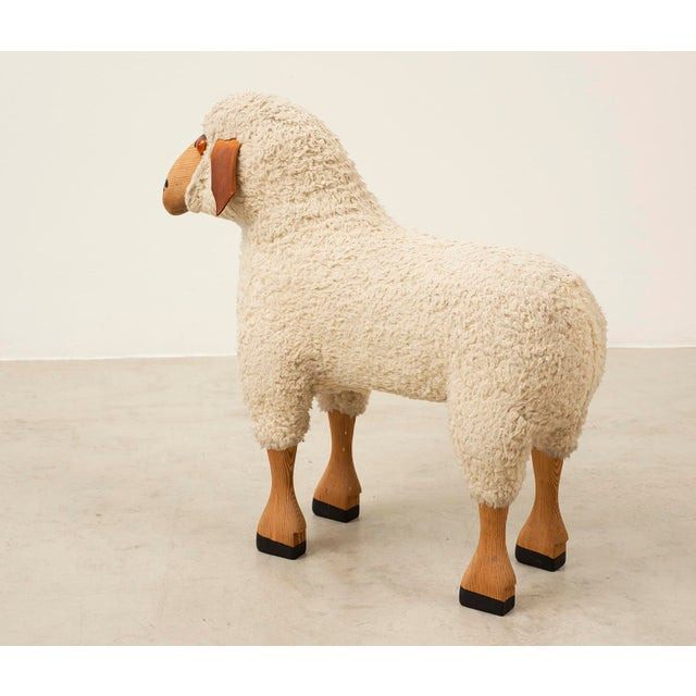 1970s Life-Sized Sheep in Sheepskin and Beech, Germany, 1970s For Sale - Image 5 of 13