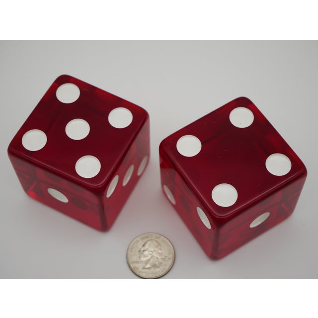 1960s 1960s Jumbo Red Casino Dice - a Pair For Sale - Image 5 of 6