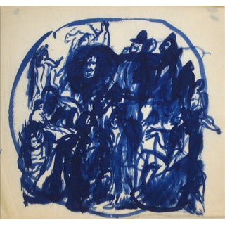 Blue Figures in a Circle Early-Mid 20th Century Ink Wash For Sale