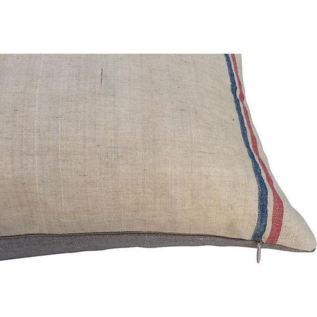 2010s French Linen Embroidered Pillows - A Pair For Sale - Image 5 of 5