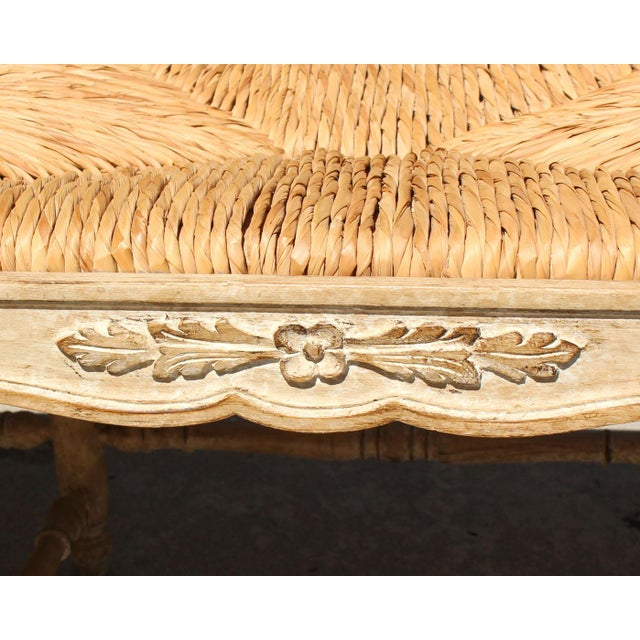 """1940s Hand Made Rush Three-Seater Provençal """"Radassier"""" Bench, France 1940s For Sale - Image 5 of 6"""