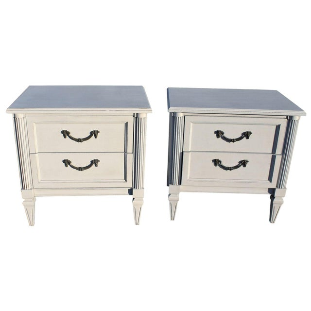 Gray Painted Wooden Nightstands - A Pair - Image 1 of 6