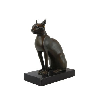 Pasargad DC Vintage Bronze Egyptian Cat Sculpture For Sale