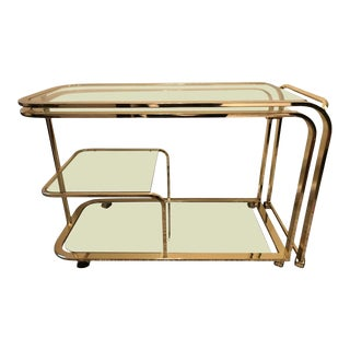 Milo Baughman for Dia Expandable Brass Bar Cart For Sale