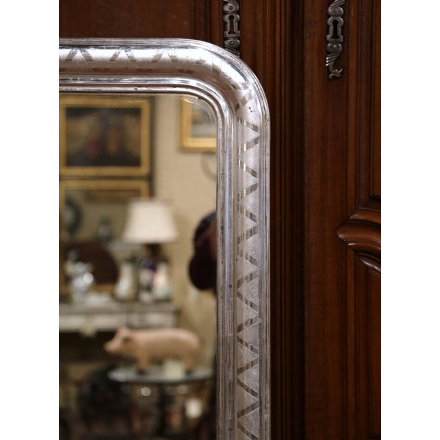 Louis Philippe 19th Century French Louis Philippe Silver Leaf Mirror With Geometric Motifs For Sale - Image 4 of 7