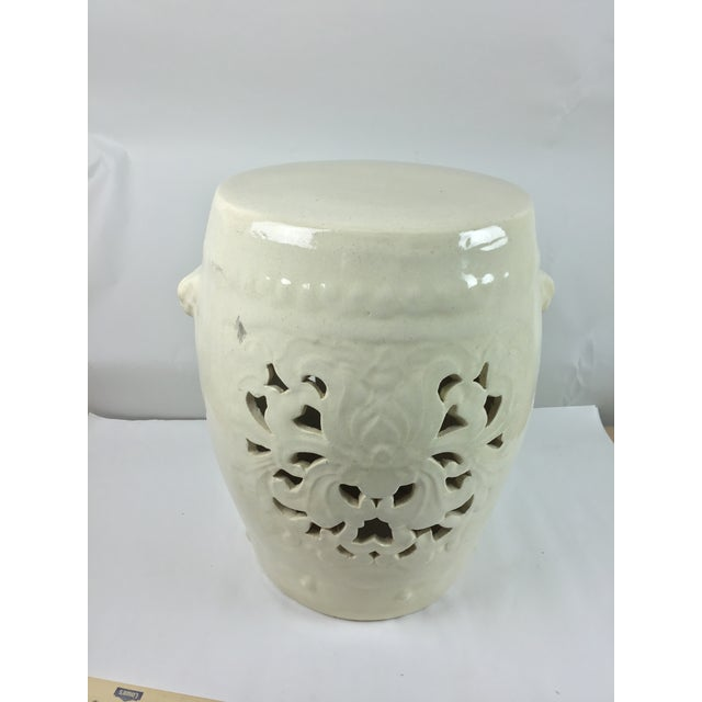 Vintage White Pierced Asian Garden Seat Stool For Sale - Image 13 of 13