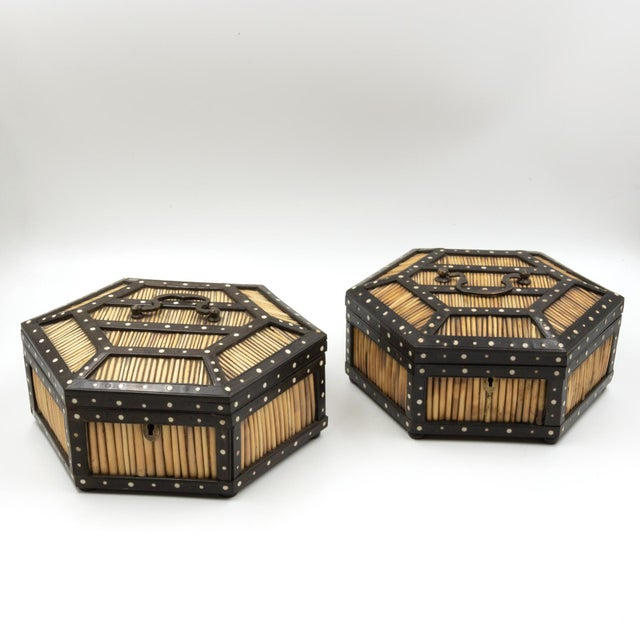 Pair of Ebony and Porcupine Quill Hexagonal Boxes, Ceylon, Circa 1880 For Sale - Image 4 of 10
