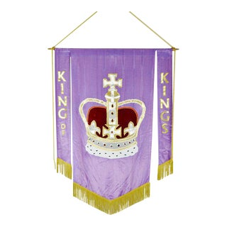 Authentic Vintage Hand-Made Religious King of Kings Church Banner For Sale