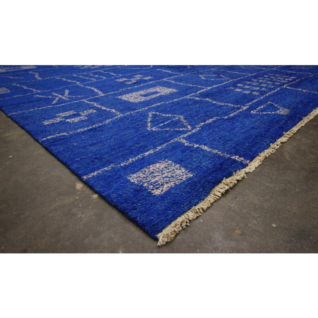Textile New Contemporary Blue Moroccan Area Rug With Modern Bauhaus Style - 12'4 X 15'3 For Sale - Image 7 of 10