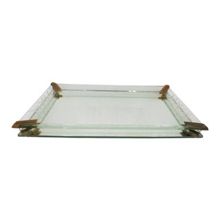 1940s Vintage Antique Mirrored Dresser Tray For Sale