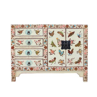 Oriental Distressed Off White Golden Butterflies Drawers Storage Cabinet For Sale