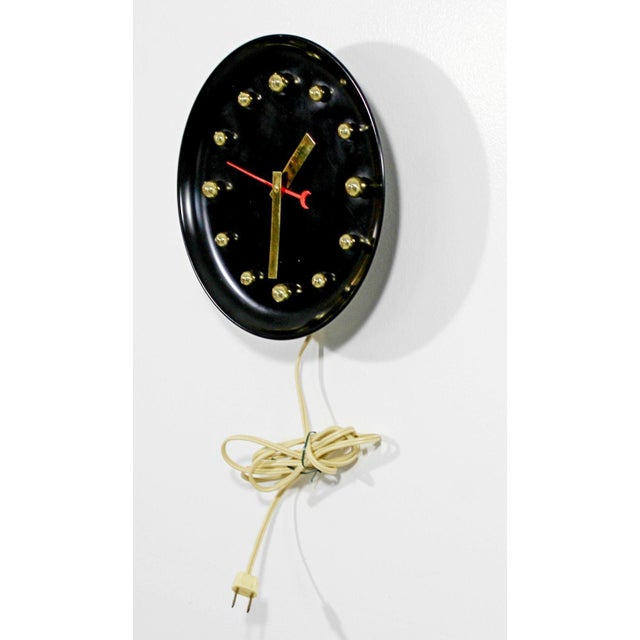 George Nelson 1960s Mid Century Modern George Nelson Style Black Face Brass Ball Wall Clock For Sale - Image 4 of 8