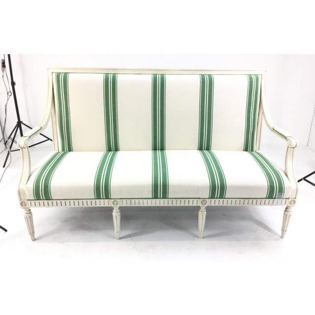 Stylish French transitional Mark D. Sikes for Henredon Green Stripped Presido Sofa/Bench, Ivory wood frame with tapered...
