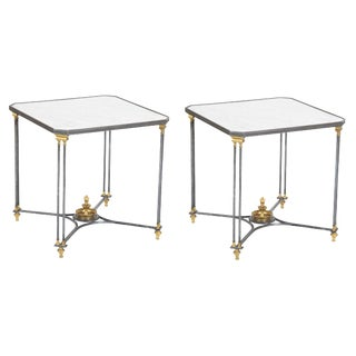 French Directoire Side Tables With Marble Top - a Pair For Sale