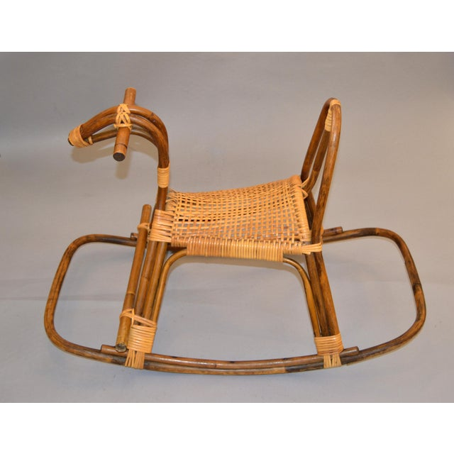 Italian 1960s Rattan and Bamboo Rocking Horse Sculpture Inspired by Franco Albini For Sale - Image 3 of 13