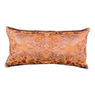 Hollywood Regency Bronze & Gold Silk Embroidered Chinoiserie Boudoir Pillow For Sale