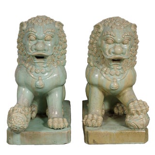 Antique Chinese Qing Era Porcelain Foo Dogs-A Pair For Sale