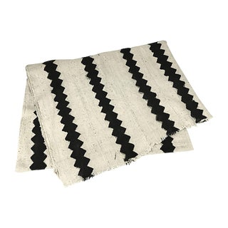 African White & Black Zig Zag Mudcloth Throw
