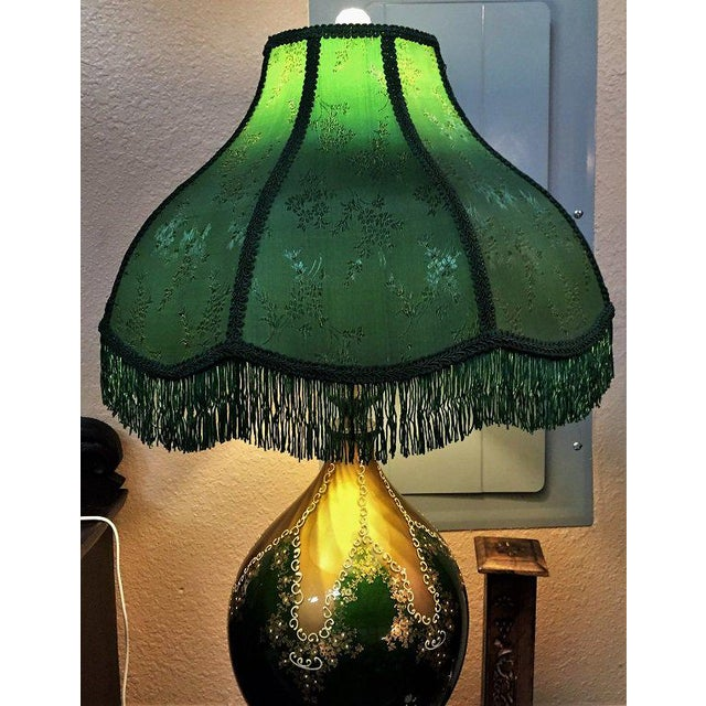 Vintage Murano Glass Table Lamp With Gold Overlay and Bronze and Marble Mounts For Sale - Image 9 of 13