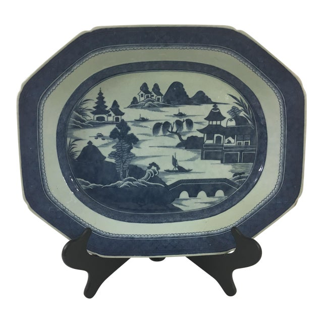 Large Antique Blue and White Canton Platter For Sale