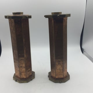 Hammered Copper and Brass Candleholders - a Pair Preview