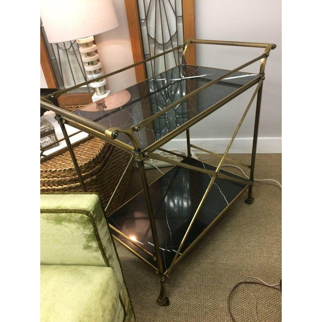 Mid Century Modern Brass & Marble Bar Cart - Image 3 of 9