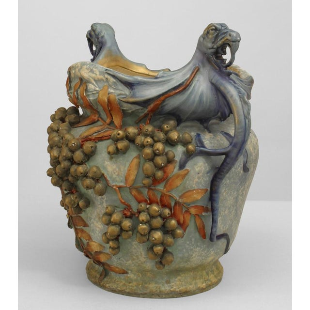 Austrian Monumental Blue/Green Amphora Jardiniere For Sale - Image 4 of 9
