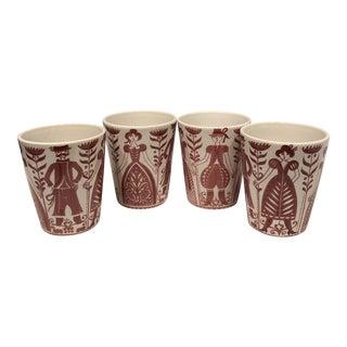 Vintage 1970s Folk Art Themed Ceramic Tumblers - Set of 4 For Sale