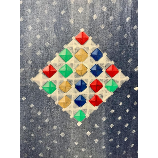2010s Multi-Colored Geometric Diamond Oil Painting For Sale - Image 5 of 8