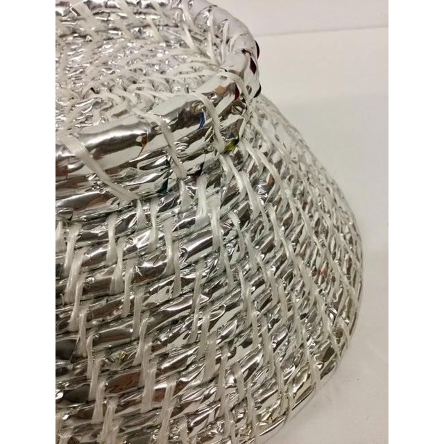 Modern Artisan Hand Woven Repurposed Plastic Basket For Sale - Image 9 of 11
