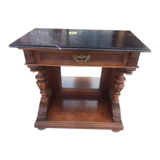 19th Century French Walnut Marble Top Console With Mirrored Back Single Drawer For Sale