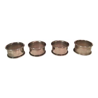 Leonard Mid-Century Modern Silverplate Napkin Rings - Set of 4 For Sale