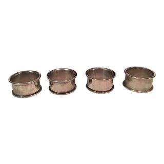 Leonard Mid-Century Modern Silverplate Napkin Rings - Set of 4 For Sale